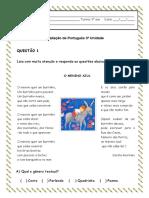 Avaliação de Português 3ª Unidade A