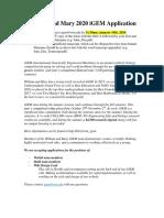 igem 2020 application