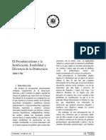 Nino - El Presidencialismo y La Justificación, Estabilidad y Eficiencia de La Democracia