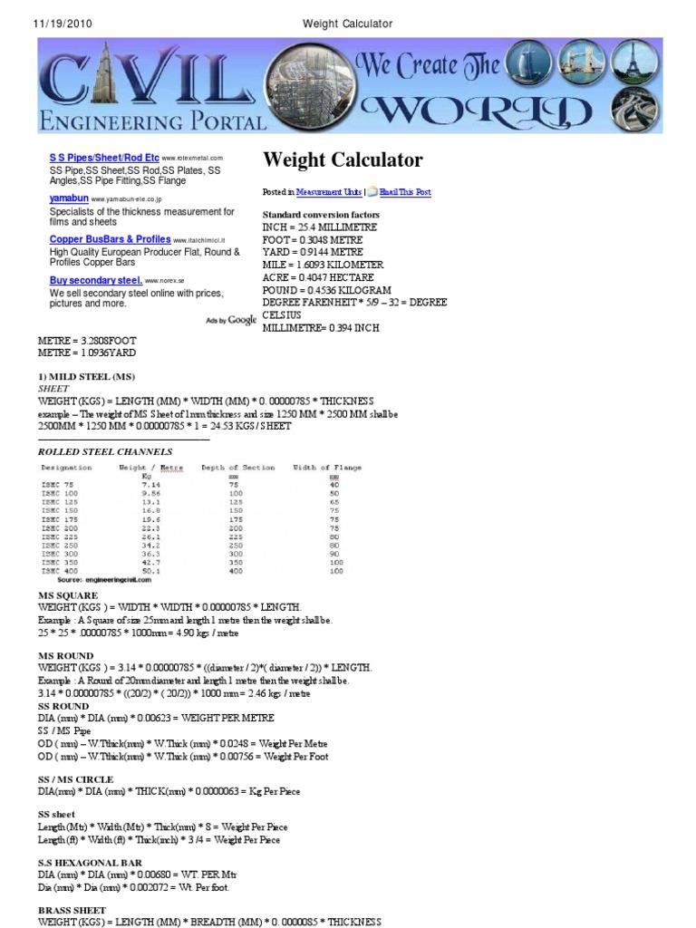 Weight calculator deep foundation civil engineering nvjuhfo Choice Image