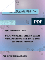 Preparation of Daily Lesson Plan
