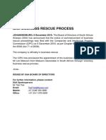 Media Release - Update - Saa Business Rescue Process