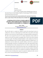Comparative Study on Reliability Between Online and Paper-based Versions of a Test for Reading in English as a Foreign Language