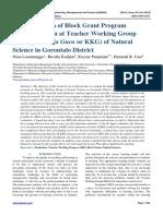 The Evaluation of Block Grant Program Implementation at Teacher Working Group (Kelompok Kerja Guru or KKG) of Natural Science in Gorontalo District