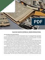TALLER DE FUENTES HISTÓRICAS.