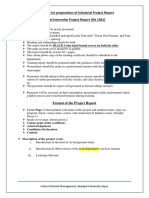 Guidelines for Preparation Internship Project Report