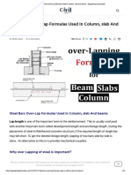 Steel Bars Over-Lap Formulas Used in Column, Slab and Beams - Engineering Discoveries