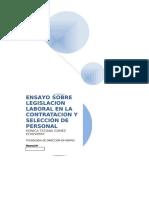 Ensayo Sobre Legislacion Laboral en La Contratacion y Selección de Personal