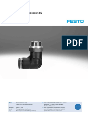 Festo QS-G3//8-8-I Push-In Fitting 6.3 mm