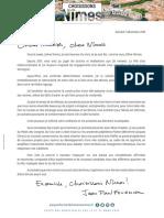 La lettre de Jean-Paul Fournier aux Nîmois