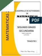CUADERNILLO DE SEGUNDO GRADO DE  MATEMATICAS  SECUNDARIA