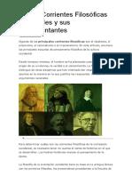 Las 18 Corrientes Filosóficas Principales y Sus Representantes
