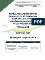 Manual de Elaboracion de Trabajos de Investigacion Para Optar El Grado Academico de Bachiller y Titulo Profesional ''UJCM''