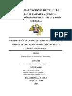 Determinación de Los Parámetros en Muestra de Aguas Residual de Lagunas de Oxidación Ubicación en Tablazo i. 5docx