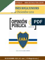 Cb Consultora - Encuesta Boca Juniors - 06 de Diciembre de 2019 - 611 Casos - 4% m. de Error