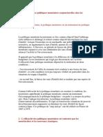 - L'Efficacité Des Politiques Monétaires Conjoncturelles Chez Les Keynésiens