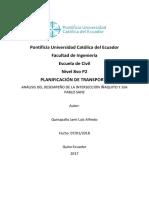ANÁLISIS DEL DESEMPEÑO DE LA INTERSECCIÓN IÑAQUITO Y JUA PABLO SANZ