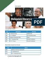 List of Malayalam Literary Awards