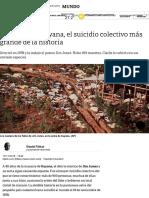 A 40 Años de Guyana, El Suicidio Colectivo Más Grande de La Historia - Clarín Artículo