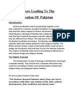 Factors leadind to the creation of Pakistan