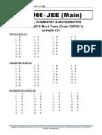 Answer Key JEE Main 2019 Mock Test PCM MERGE 02-01-19 A