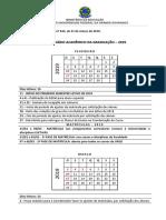 Calendário Acadêmico Para o Ano Letivo de 2019 (Versão Consolidada)
