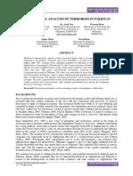 Sociological Analysis of Terrorism in Pakistan - Proquest