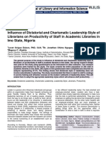 Influence of Dictatorial and Charismatic Leadership Style of Librarians on Productivity of Staff in Academic Libraries in Imo State, Nigeria