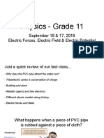 Physics - Grade 11 - September 16 - Electric Forces, fields & potential