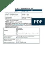 Neet Information 2020