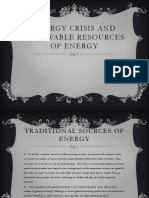 Energy Crisis and Renewable Resources of Energy