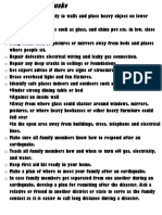 Do's & Don't Before, During and A fter an Earthquake