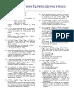 Lista de exercícios sobre equilíbrio químico