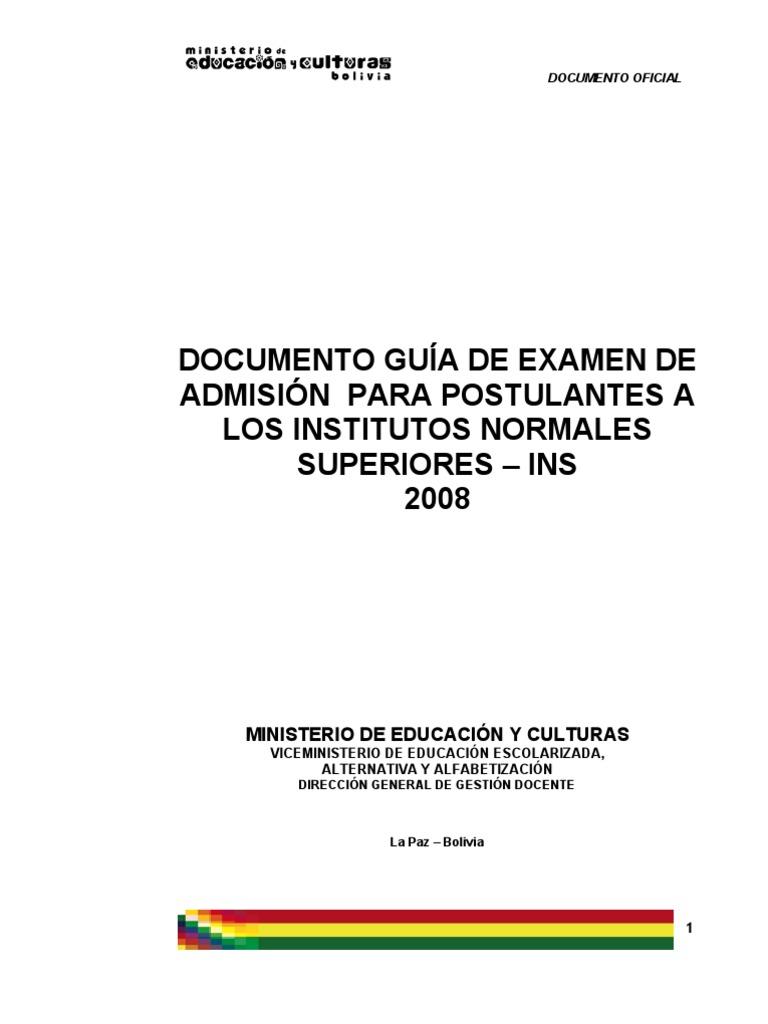 Guia de Examen de Admision Institutos Normales