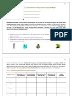 CHEM 1062 Experimental Observation Report Sheet