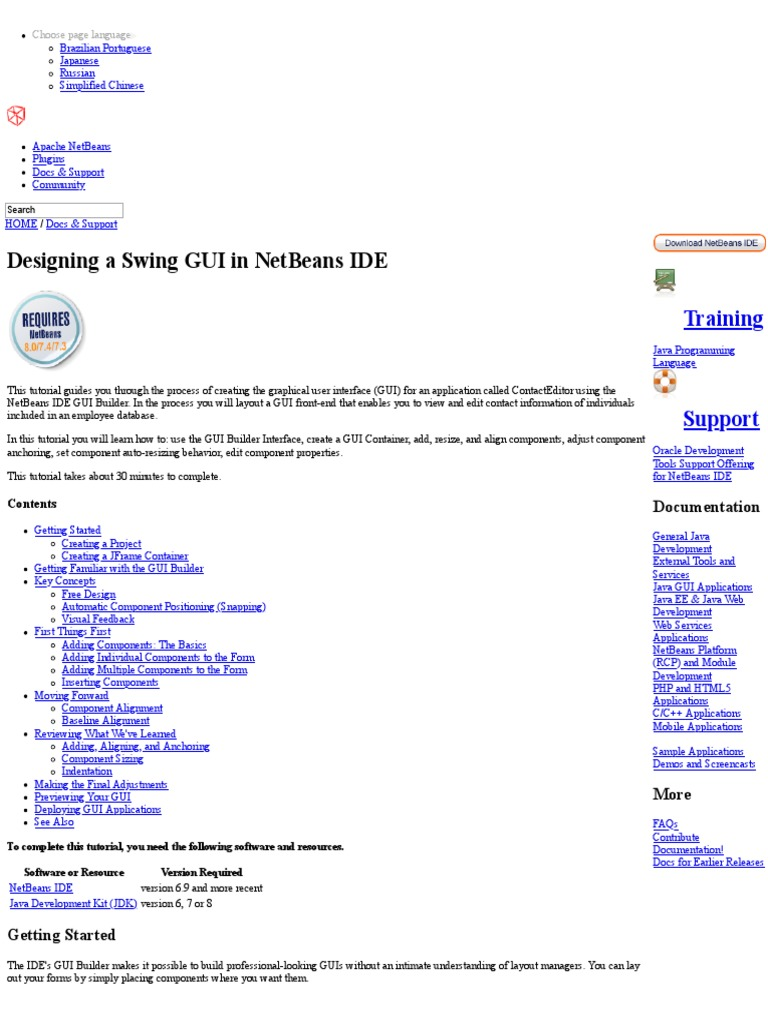 Designing_a_Swing_GUI_in_NetBeans_IDE_-_Tutorial | Net Beans | Integrated  Development Environment