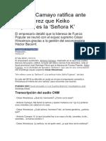 Antonio Camayo ratifica ante fiscal Pérez que Keiko Fujimori es la