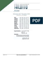 Estrazioni del Lotto Italiano di sabato 7 Dicembre 2019
