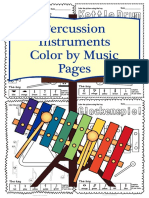 Percussion Instruments Color by Music Pages Set 3 (Symbol)