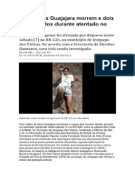 Dois Índios Guajajara Morrem e Dois Ficam Feridos Durante Atentado No Maranhão