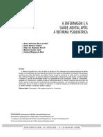 A ENFERMAGEM E A SAÚDE MENTAL APÓS A REFORMA PSIQUIÁTRICA