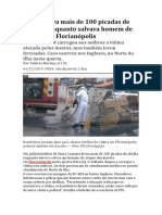 Policial Leva Mais de 100 Picadas de Abelhas Enquanto Salvava Homem de Ataque Em Florianópolis