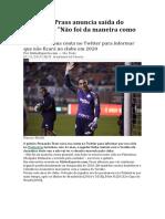 Fernando Prass anuncia saída do Palmeiras
