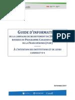 Guide de Candidatures Pour Les Institutions Candidates Et Leurs Candidates Candidats_PCBF 2020