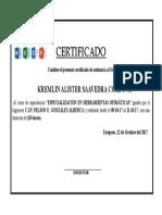 Certificado Curso Capacitacion Ofimatica