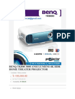 BENQ TK800 3000 ANSI LUMENS 4K HDR HOME THEATER PROJECTOR