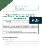 Circolare Del 29.11.2019 - Pagamento F24 - Nuove Regole Per La Compensazione Dei Crediti.