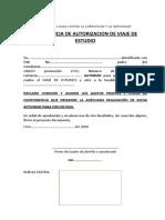 formato autorizacion de viaje