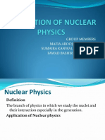 APPLICATION OF NUCLEAR PHYSICS