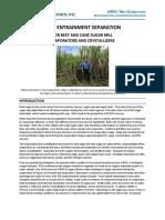 Mist Entrainment Separation for Sugar Mill Evaporators and Vacuum Pans